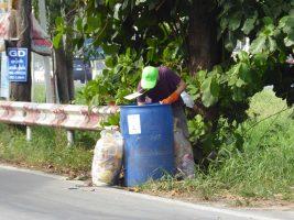Waste bin diving